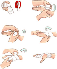 white backround Vector illustration of a hand bandage