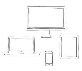 Vector hand drawn illustration of a line desktop computer, lapto