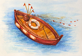 Mediterranean fishing boat watercolor picture
