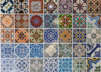 Tiles ceramic patterns from Lisbon, Portugal.