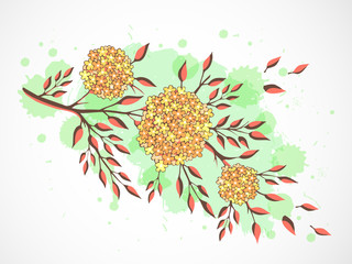 Vector hand drawn illustration with flowers on textured watercolor background.