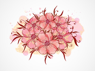 Vector illustration with hand drawn  flowers, leaves and branches with textured watercolor elements.