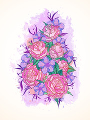 Vector illustration with hand drawn roses, flowers and leaves on a background with textured watercolor elements.