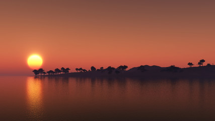 3D island of trees against a sunset sky