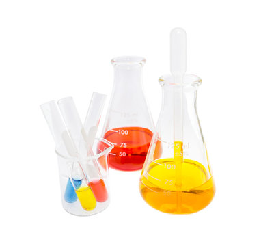 red yellow solution in flask and test tube solution