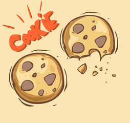 white background vector illustration of a cookie