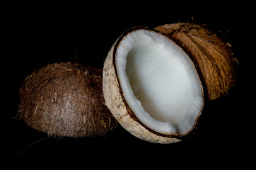 coconut on black background