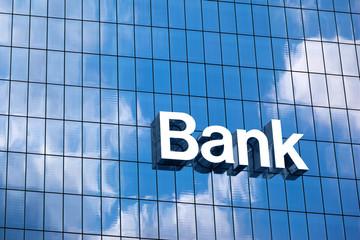 Close up a bank sign