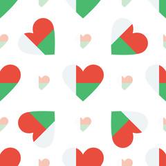 Madagascar flag heart seamless pattern. Patriotic Madagascar fla