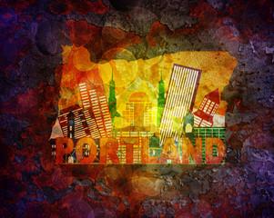 Oregon Cityscape in Map  Grunge Background Illustration