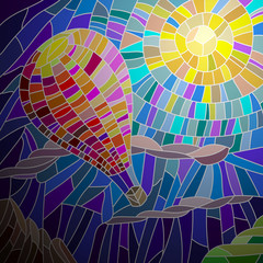 Balloon against sunny skies in the stained glass style