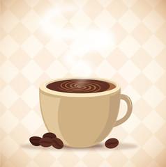 Kaffeetasse mit Kaffeebohnen Vektor