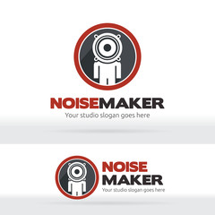 Noise maker, Music studio Brand identity, Human head speaker logo, Sound recorder studio logo, Music Party, Dance club logo.