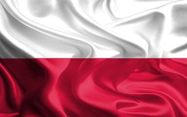 Waving Fabric Flag of Poland