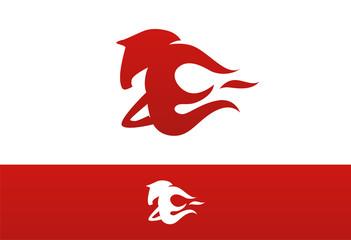 Horse Fire Logo Vector