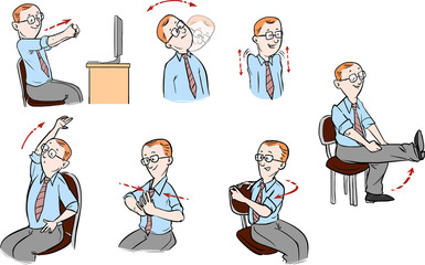 Vector illustration of a Office-exercising men