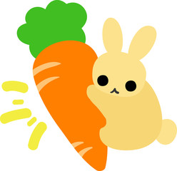 A rabbit with a carrot