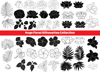 lotus, hibiscus, rose, orchid, palm, leaf