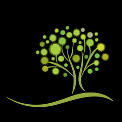 Stylized green tree on black background vector illustration