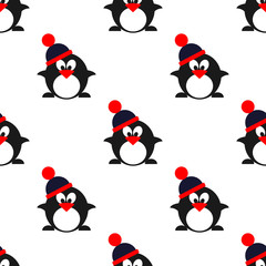 Seamless vector pattern with animals, cute symmetrical  background with penguins with winter hats. Series of Animals and Insects Seamless Patterns.