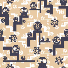 Funny cute monsters - seamless pattern. Vector