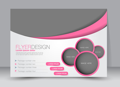 Flyer, brochure, magazine cover template design landscape orientation for education, presentation, website. Pink color. Editable vector illustration.