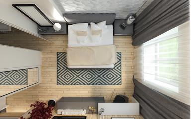 Modern bedroom loft interior