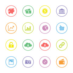 Colorful simple flat icon set 4 with circle frame - for web design, user interface (ui), infographic and mobile application