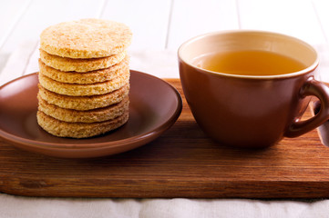 Coconut biscuits and cup of tea