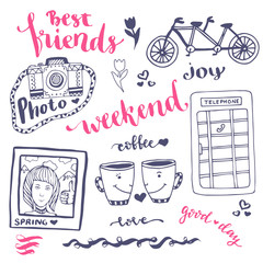 Weekend sketch art romantic set of hand drawn elements with phone booth, photo card and bicycle. For greeting card and decoration - vector illustration.