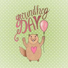 Groundhog Day gift card. Hand drawn beautiful smiling hamster. Vector illustration. Can be used for print, greeting cards or blog icon
