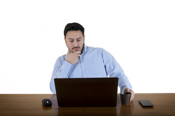 Business Man Looking At Computer Screen Isolated On White Background