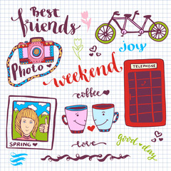 Weekend stickers romantic set of hand drawn elements with phone booth, photo card and tandem bike. For greeting card and decoration - vector illustration.