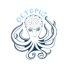 Wild ocean octopus character with lettering. For coloring page, logotype and other design.