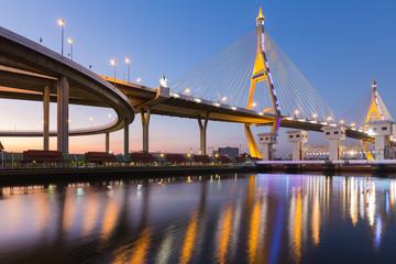 Suspension Bridge over Bangkok main river night view