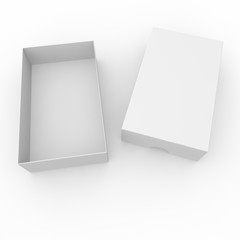 Open white blank carton. With a hole on the lid to open