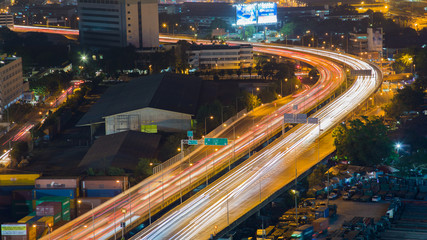 Night express way long exposure during busy hours