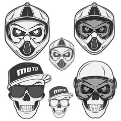 Set of skull helm biker and motosport