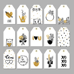 Collection of hand drawn cute gift tags.