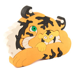 wooden tiger puzzle toy