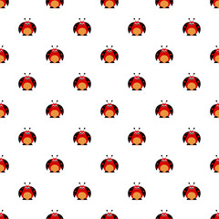 Seamless vector pattern with insects, symmetrical background with bright cute comic ladybugs, on the white backdrop. Series of Animals and Insects Seamless Patterns.