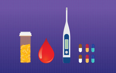 diabetes medicine drugs and blood test sugar test vector concept