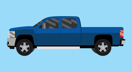 suv truck car pickup isolated blue big vector