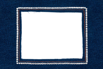 Denim frame with dark jeans with silver rhinestones