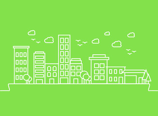 City buildings on green background. Vector