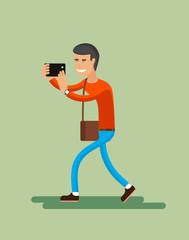 Man shoots smartphone illustration