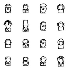 Avatar Icons Historical Figures Freehand