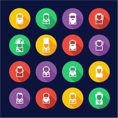 Avatar Icons Historical Figures Flat Design Circle
