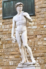 The most famous statue of Florence, David of Michelangelo, Italy.