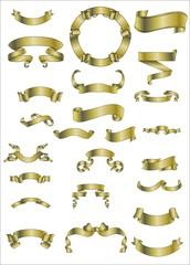 Dekorelemente in Gold- Schleifen und Banner